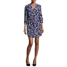 Kate Spade New York spinner drawstring silk shirtdress ($398) ❤ liked on Polyvore featuring dresses, blue, long shirt dress, drawstring waist dress, t-shirt dresses, print dress and blue shirt dress