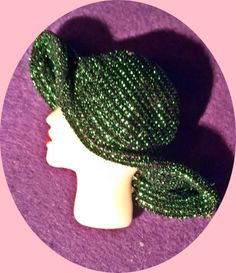 1030's green hat lady £3.50 flat back resin fabric hat superb finish