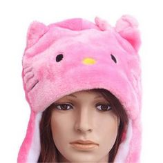 TopTie Full Animal Hoodie Faux Fur Girls Hat 3-In-1 Function - Rabbit