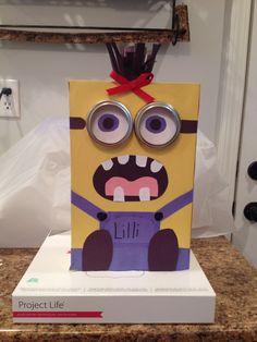 Lilli's girl Minion Valentine Box:) Cool Valentine Boxes, Minion Valentine, Valentines Day Treats, Valentine Ideas, Valentine Decorations, Valentine Crafts, Holiday Crafts, Holiday Ideas, Heart Day