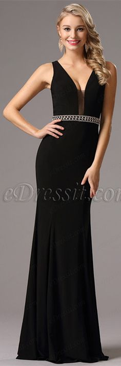 Plunging Neck Black Formal Gown with Beaded Waistband (36160600) 593507e37