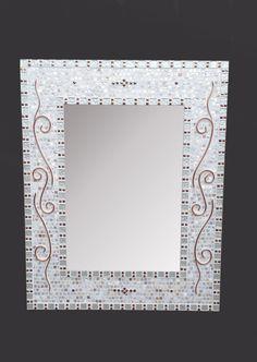 Bathroom Mirrors By Size large decorative mosaic mirror - bathroom mirror - silver frame