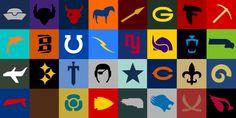 Minimalist NFL logos
