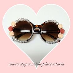 Vintage round pearly rose sunglasses