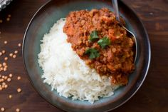 Spicy red lentil and tomato curry.