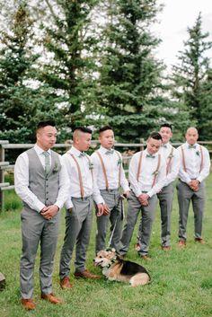 Dreamy Farm Wedding - The Gathered Denise & Matt - Groomsmen - Sage Tie Grey Pants Suspenders - Corgi Floral Collar Groomsmen Attire Suspenders, Rustic Groomsmen Attire, Gray Groomsmen Suits, Bridesmaids And Groomsmen, Groomsman Attire, Wedding Suspenders, Casual Groom Attire, Mint Green Bridesmaids, Rustic Wedding Groomsmen