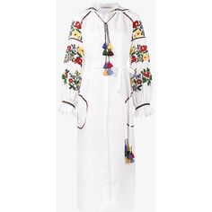 Vita Kin Bouclé floral embroidered dress ($1,535) ❤ liked on Polyvore featuring dresses, white, boucle dress, white day dress, flower embroidered dress, floral embroidery dress and white floral embroidered dress