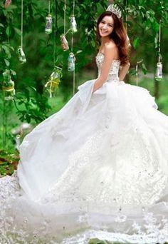 Full Dimonates Chested off shoulder Wedding Dress #ShopSimple #weddingdress