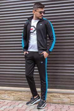 Trening Bumbac EX Negru-Turcoaz TRB7 Track, Bomber Jacket, Suits, Jackets, Men, Style, Fashion, Down Jackets, Swag
