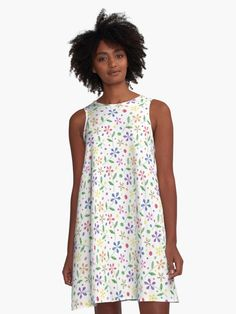 A-Line Dresses Ditsy Crayon Flowers - Rainbow by wickedrefined #rebubble #clothing #clothes #dress #colorful #rainbow #florals #cute
