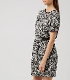 Black Floral Print Elastic Waist Short Sleeve Dress