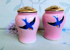 Vintage Pink Sparrow Salt and Pepper Shakers-Japan.  via Etsy.