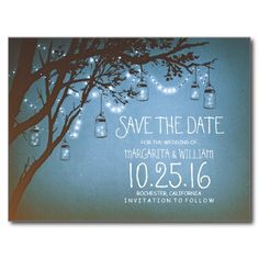 Romantic vintage save the date with blue rustic old tree branches, glowing string lights and and mason jars full of fireflies.