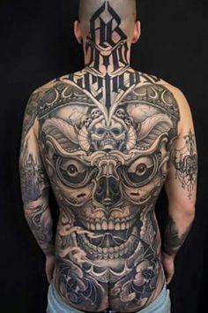 68 Best Back Tattoos - Tattoo Insider - Full Mens Back Tattoo by Kostas Tzikalagias - Backpiece Tattoo, Tattoos Skull, Head Tattoos, Life Tattoos, Body Art Tattoos, Tribal Tattoos, Sleeve Tattoos, Tatoos, Neck Tattoo For Guys