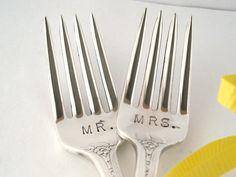 Wedding Cake Forks Vintage Hand Stamped Mr. by OliveSpoonStudio $ 26 Etsy