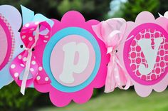 XL Happy Birthday Banner in Pink and Light Blue by thepaperkingdom, $45.00
