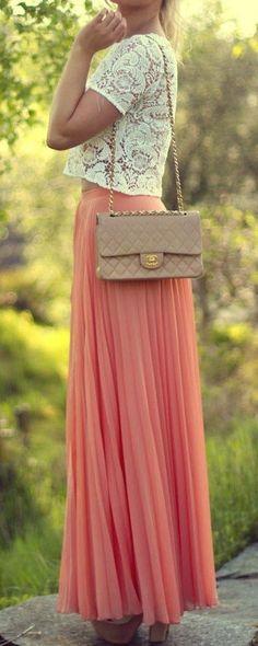 Coral Maxi + Lace Blouse ♥