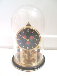 German Anniversary 400 days Gilded Case Glass Dome Clock 8 H 5 D