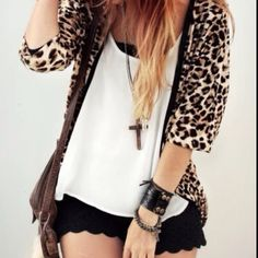 Holy Leopard, Cross, and Shorts Batman! Love everything about this look!