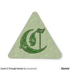 Letter C Triangle Sticker #Alphabet #Letter #Embossed #Art #Celtic #Sticker #Triangle