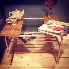 Our gorgeous classic coffee table. This darling is made of copper pipe, reclaimed victorian floorboards and tempered glass. The addition of the copper shelving makes it the perfect table to store and display your table books and magazines!  Designed and hand made by new London based bespoke furniture company Copper & Wood. Follow on Instagram @copper_wood and go to www.copperandwood.co.uk to sign up and join our journey!   C&W x