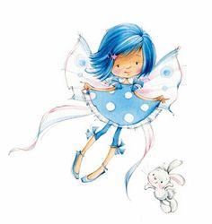 Blue Fairy by Artist Marina Fedotova - Hada (Fairy) Art And Illustration, Illustration Mignonne, Cute Images, Cute Pictures, Art Mignon, Blue Fairy, Fairy Art, Digi Stamps, Whimsy Stamps