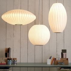 Bubble Saucer Ceiling Lights from George Nelson dated Modern Hanging Lights, Hanging Ceiling Lights, Hanging Light Fixtures, Ceiling Lamp, George Nelson, White Pendant Light, Led Pendant Lights, Pendant Lamps, Pendant Lighting