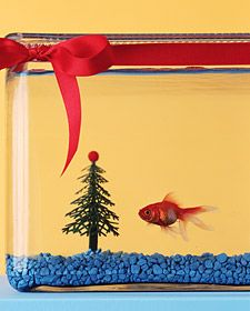 """Fish Tank Christmas Tree: """"Bring joy to your pet's tank with a plastic Christmas tree. Attach a plastic bead to the top with silicone aquarium sealant (ask a grown-up to help).Wrap lead plant weights around the trunk or set it in a suction cup (fo Christmas Tree For Fish Tank, Plastic Christmas Tree, Christmas Tree With Gifts, Christmas Fun, Holiday Gifts, Christmas Decorations, Fun And Easy Diys, Martha Stewart Pets, Santas Workshop"""
