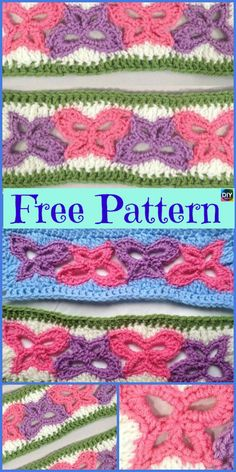 These Beautiful Crochet Butterfly ties are really beautiful, they are great for decoration too! Just crochet a long string of these and tie your curtain! Crochet Quilt, Crochet Motif, Crochet Yarn, Crochet Stitches, Free Crochet, Crochet Butterfly Free Pattern, Crochet Flower Patterns, Crochet Designs, Crochet Ideas