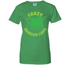 Crazy Dragon lady (green circle) T-Shirt