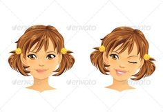 Caricature Profile Girl Pigtails » Tinkytyler.org - Stock Photos ...