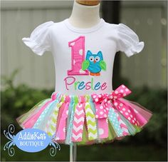 Personalized+Owl+Fabric+Tutu+Birthday+Outfit++Pink+by+AddieKatShop