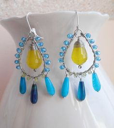 Sunny skies gemstone chandelier earrings blue green dangle