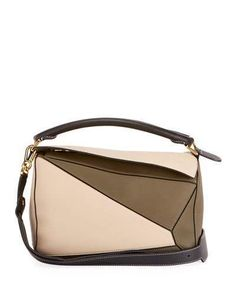 138472a514ac Loewe Puzzle Small Colorblock Grained Leather Satchel Bag Loewe Puzzle
