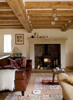 Love this inglenook fireplace with wood stove inside. Living Room Designs, Living Room Decor, Cottage Living Rooms, Border Oak, Oak Frame House, Farmhouse Fireplace, Rustic Farmhouse, French Farmhouse, Farmhouse Design