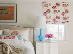 Bedroom : Cape Fun Master | Katie Rosenfeld Interior Design -- keep room neutral and do colorful window treatment.