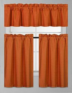 Tier Curtains, Cafe Curtains, Window Drapes, Valance Curtains, Kitchen Window Coverings, Kitchen Window Valances, Kitchen Curtain Sets, Orange Kitchen Curtains, Orange Kitchen Decor