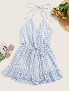 To find out about the Gingham Plaid Drawstring Waist Halter Playsuit at SHEIN, part of our latest Jumpsuits ready to shop online today! All Fashion, Fashion News, Womens Fashion, Blazer Shirt, Drawstring Waist, Gingham, Latest Trends, Women Wear, Sweetie Belle