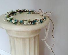 Twine corona Woodland pelo de la guirnalda de flores de novia por AmoreBride Encaje Tie guirnalda pelo accesorios de la boda traje de hadas trullo de la aguamarina casco