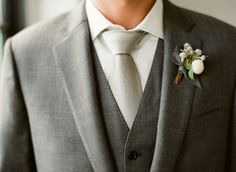 Charcoal suit and vest, pewter tie