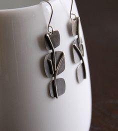 Handmade silver earrings, design inspired by nature