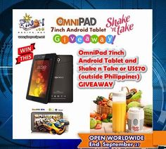 OmniPad Android Tablet and Shake n Take Blender Giveaway What's on your most wanted list? For my son it was a tablet and he is alwa. Filipino Dishes, Filipino Recipes, Pinoy Food, Giveaways, Shake, Gadget News, Android, Philippines, Friday