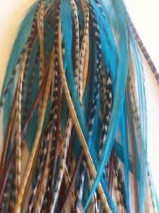 """Feather Hair Extension Aqua & Brown Grizzly Remix 6""""-12"""" Feathers for Hair Extension Includes 2 Silicon Micro Beads. SEXY SPARKLES. $8.99. 5 Real Feathers 6""""-12"""" bonded together at the tip with a keratin bond to make One unit. 2 Silicone micro beads. Salon quality feathers. Instructions included(tools are not included). Feather Extensions can be washed, curled, or blown dry"""