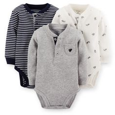 3-Pack Henley Thermal Bodysuits