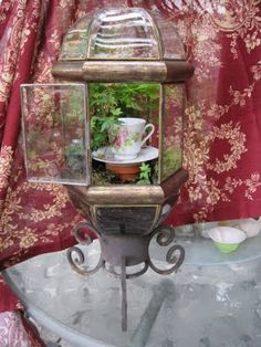 Chandy planter with candle holder, girly terrarium!