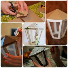 Craft a lamplight from cardboard . Love this idea, wood paint it rustic & use frameless candle inside. Christmas Tree Crafts, Christmas Tree Design, Christmas Decorations, Cardboard Crafts, Paper Crafts, Ramadan Crafts, Street Lamp, Tree Designs, Paper Lanterns