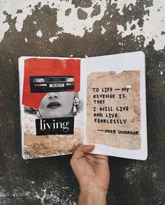 life — my revenge is that i will live and live fearlessly ✨ // art journal + poetry by noor unnahar // scrapbooking journaling ideas inspiration mixed media artsy poetic diy craft collage fashion vogue magazine, tumblr indie pale grunge hipsters aesthetics beige aesthetic, instagram creative photography, words quotes writing handwritten women writers of color pakistani teen artist //