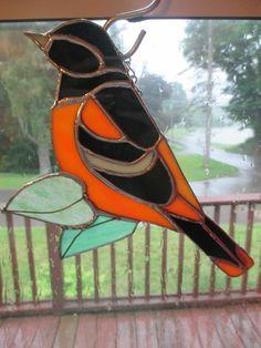 Stained Glass Baltimore Oriole Suncatcher by glassawakening