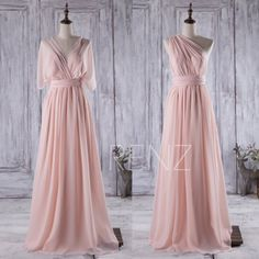 2016 Peach Convertible Bridesmaid Dress,Long Chiffon Wedding Dress, Illusion Neck Prom Dress, Backless Evening Gown Floor Length (C003)