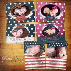 Baby Birth Announcement  PSD Template Set  Dang by KayleeBugDesign, $40.00